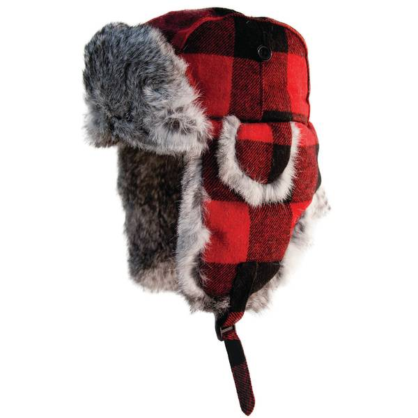 Ardisam Inc. Men's Alaskan Plaid Red with Grey Fur Hat