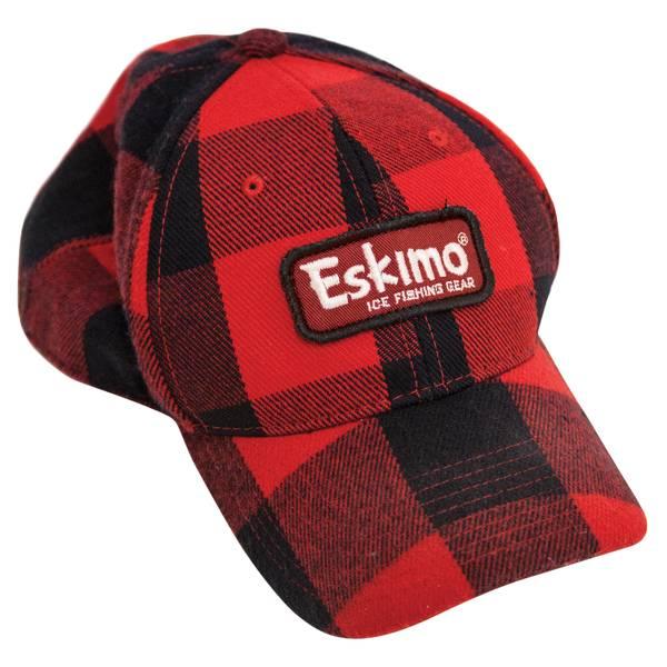 73840fcfe43 Eskimo Men's Red and Black Buffalo Plaid Cap