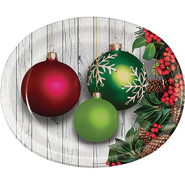 8-Count Christmas Ornaments Oval Platter