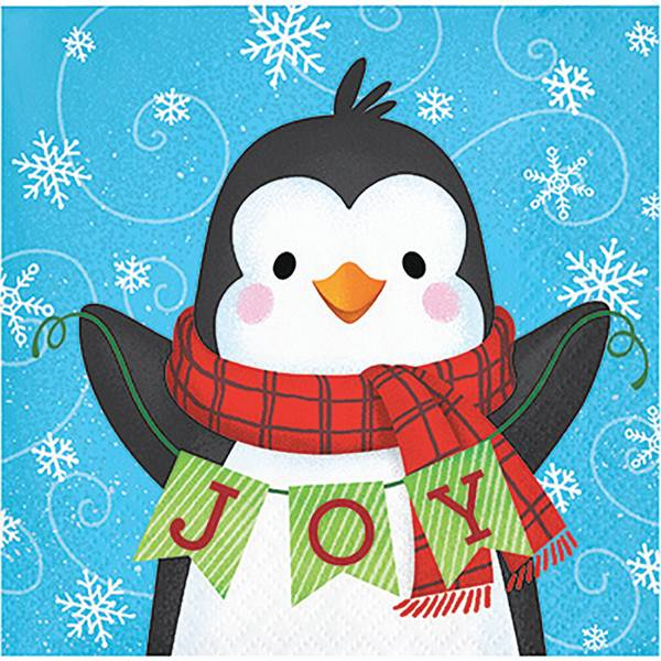 16-Count Snowman Penguin Beverage Napkin