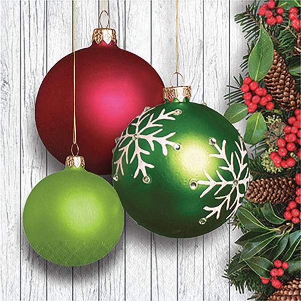 16-Count Christmas Ornaments Lunch Napkin