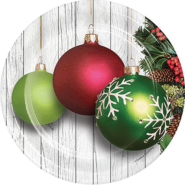 8-Count Christmas Ornaments Luncheon Plate