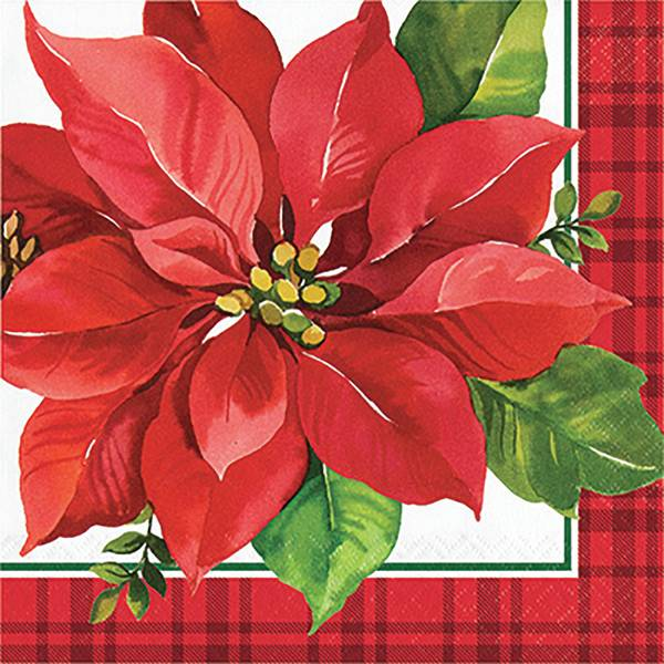 16-Count Christmas Poinsettia Lunch Napkin