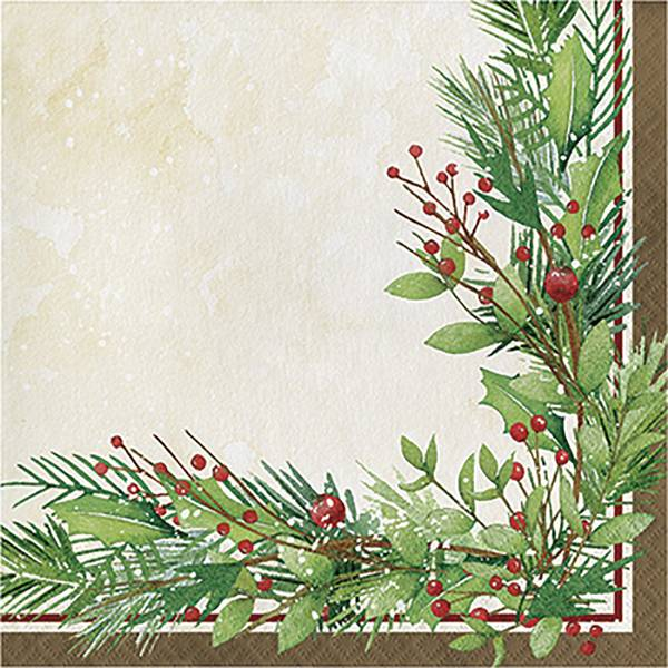 16-Count Winter Wreath Lunch Napkin