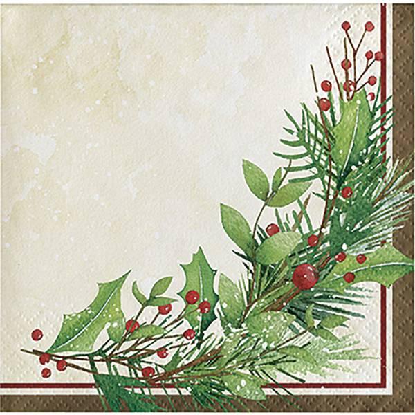 16-Count Winter Wreath Beverage Napkin