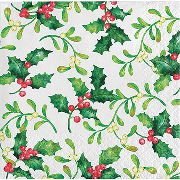 16-Count Holly Berries Beverage Napkin