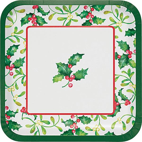 8-Count Holly Berries Dinner Square Plate