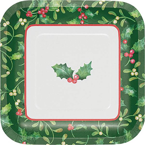 8-Count Holly Berries Luncheon Square Plate