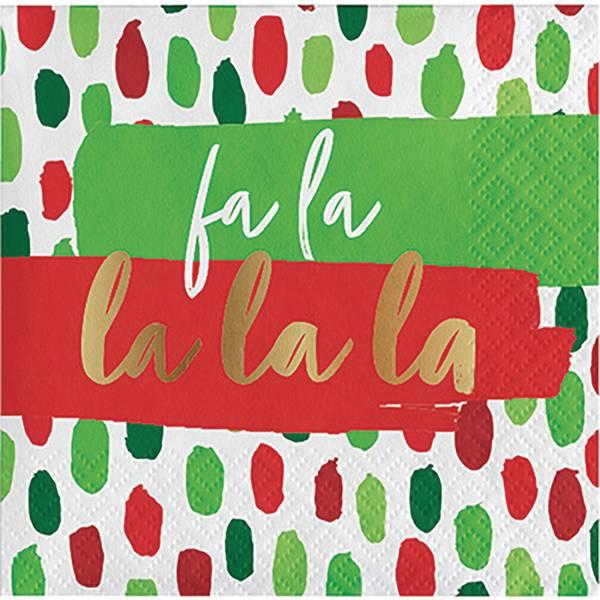 16-Count FaLaLa Beverage Foil Napkin