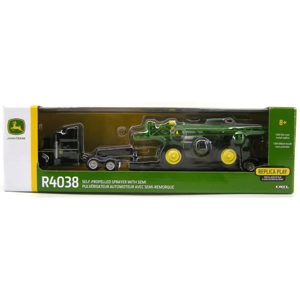 1:64 John Deere R4038 Sprayer with Semi & Lowboy Trailer