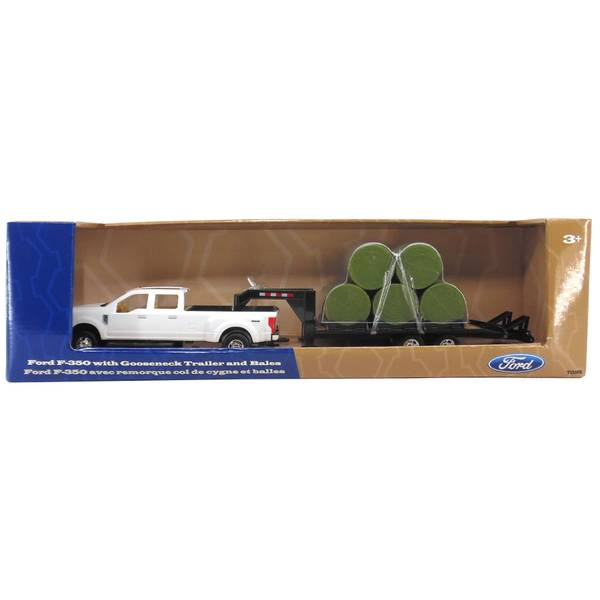 1:32 Ford F-350 with Trailer & Round Bales