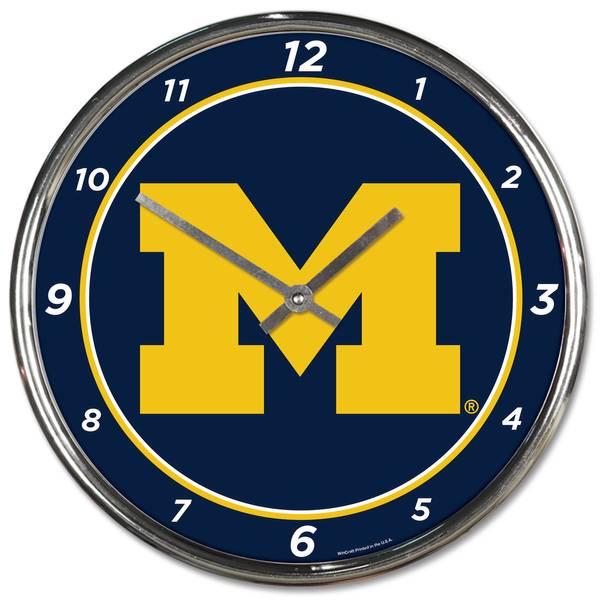 Michigan Wolverines Chrome Clock