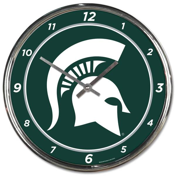 Michigan State Spartans Chrome Clock