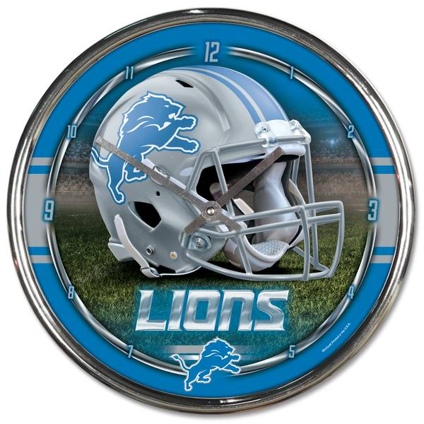 Detroit Lions Chrome Clock