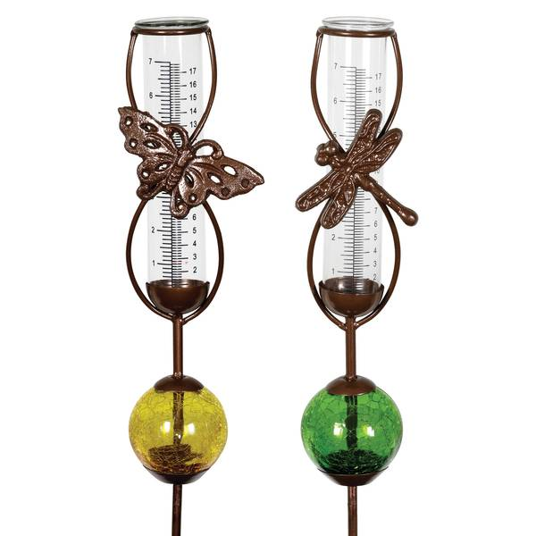 Exhart Butterfly Dragonfly Rain Gauge Glass Ball Stake