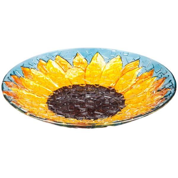 "18"" Crushed Glass Sunfower Birdbath"