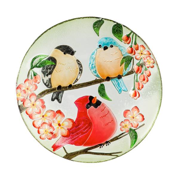 "18"" Glass Trio of Birds Birdbath Topper"