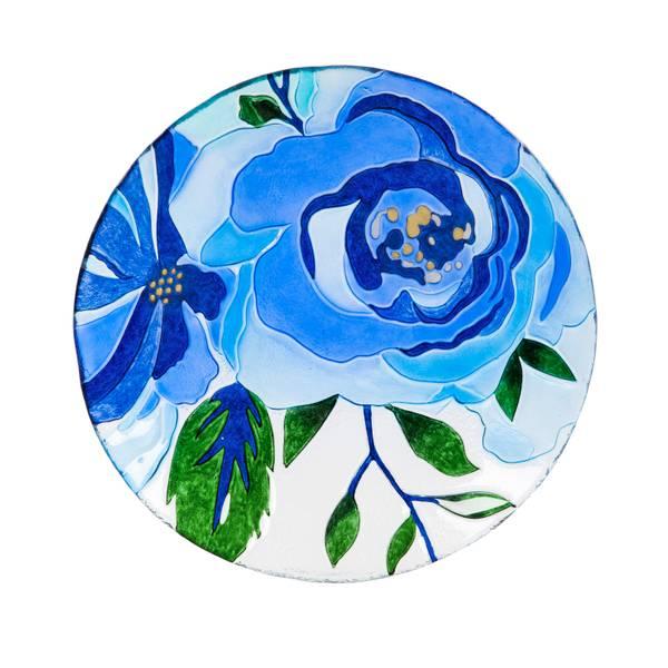 "18"" Glass Blue Floral Birdbath Topper"