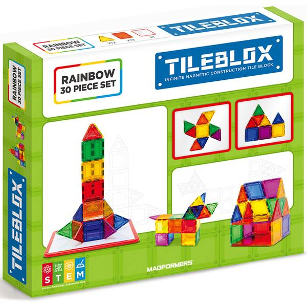 30-Piece Tile Blox Set with Magnet Board