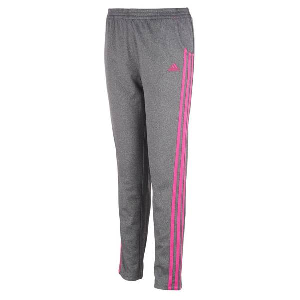 32700ddbdc6b Adidas Youth Girl s Heathered Warm Up Tricot Pants Grey
