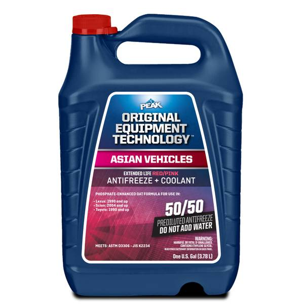 Asian Red/Pink 50/50 Antifreeze + Coolant
