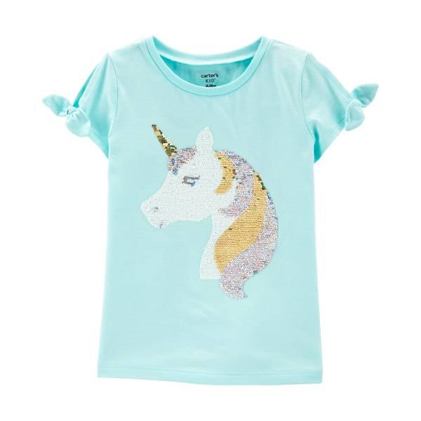 Carter S Girl S Short Sleeve Unicorn Flip Sequin Top