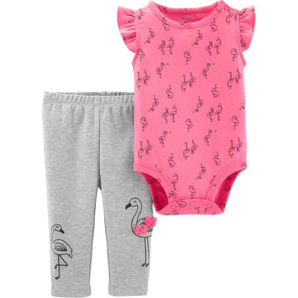 c554cceea2a184 Carter's Infant Girl's 2 Piece Pink Flamingo Set