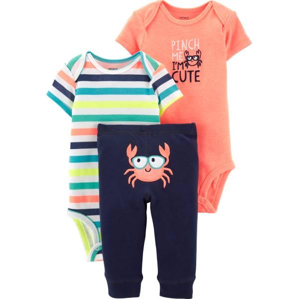 b2e882b89 Carter's 3-Piece Baby Boy Little Neon Crab Set