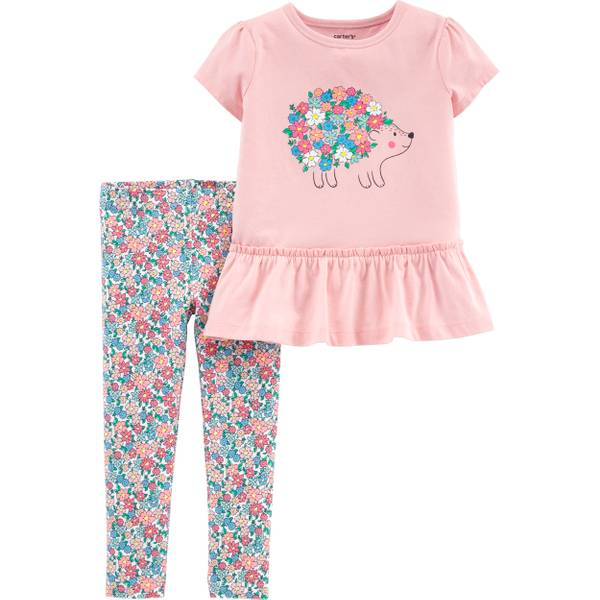 72569aaeb Carter's Girls 2T 2-Piece Hedgehog peplum Top & Floral Legging Set