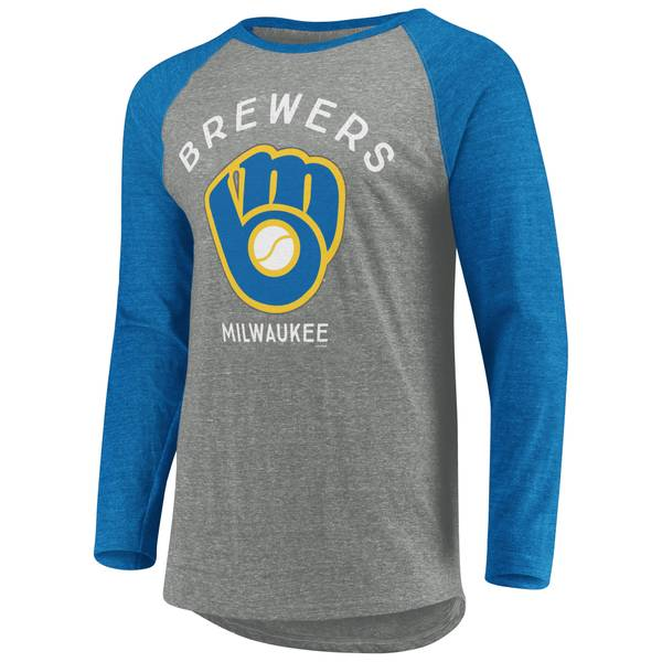 99a84036c MLB Men's Long Sleeve Milwaukee Brewers Coop Classic Times Raglan Tee