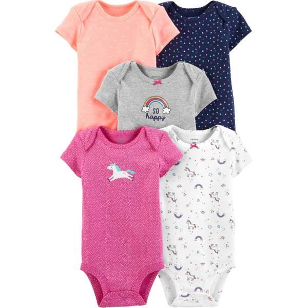 e3ee493359dd8 Infant Girl's 5-Pack Short Sleeve Bodysuits