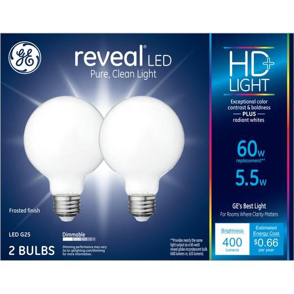 GE 2-Pack 5.5-Watt Dimmable Reveal LED G25 HD+ Light Bulbs ...