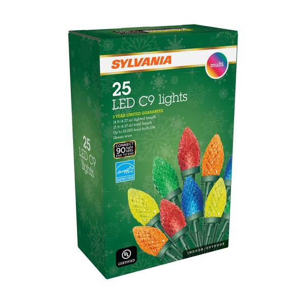 25 Count Faceted Multi Colored C9 Led Lights
