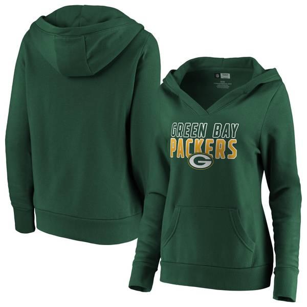 c64382420 Misses' Green Bay Packers Team Lockup V-Neck Hoodie
