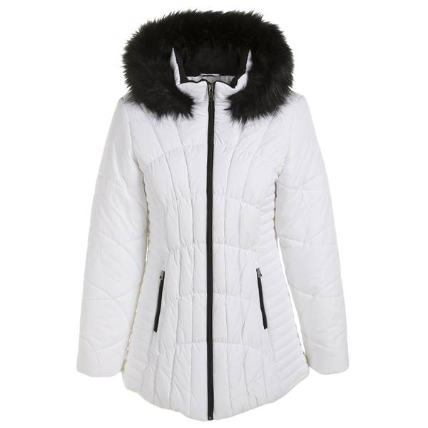 Women S Plus Size Quilted Puffer Jacket With Fur Hood