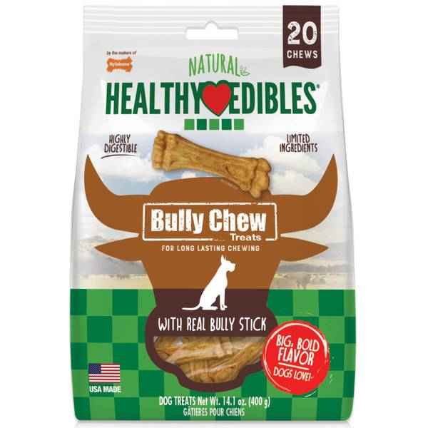 Nylabone Healthy Edibles Roast Beef Flavored Dog Treats 1 Count Small and Large Dog Chew Treats All Natural Grain Free Dog Treats Made In the USA Only
