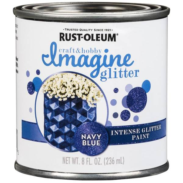 8 Oz Imagine Navy Blue Glitter Paint