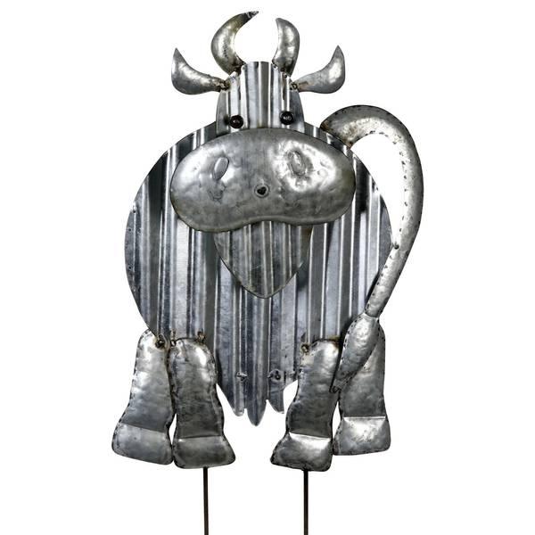 Exhart Corrugated Metal Cow Garden Stake - 15999