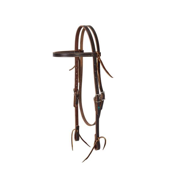 """Weaver Leather Black Leather 5//8/"""" Wide Browband Headstall Black Horse"""
