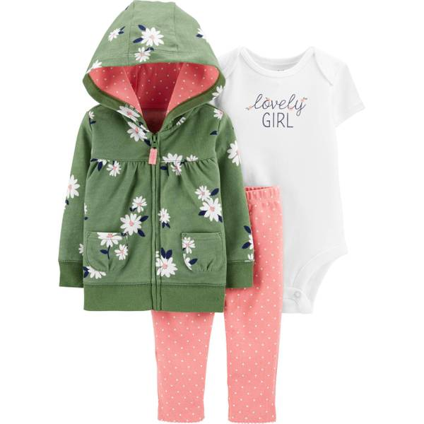 Carters 3 Piece Outfit 9 18 or 24 Months Cardigan Pants and Bodysuit
