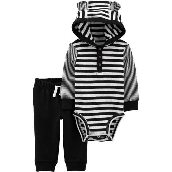 Photo of Infant Boy's 2-Piece Striped Hooded Bodysuit Pant Set