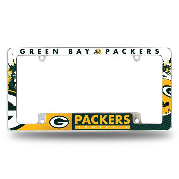 Green Bay Packers Wasin NFL Rugby Team Logo Black License Plate Frame Applicable to US Standard Cars License Plate