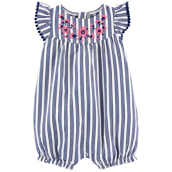 Photo of Infant Girl's 1-Piece Floral Stripe Romper