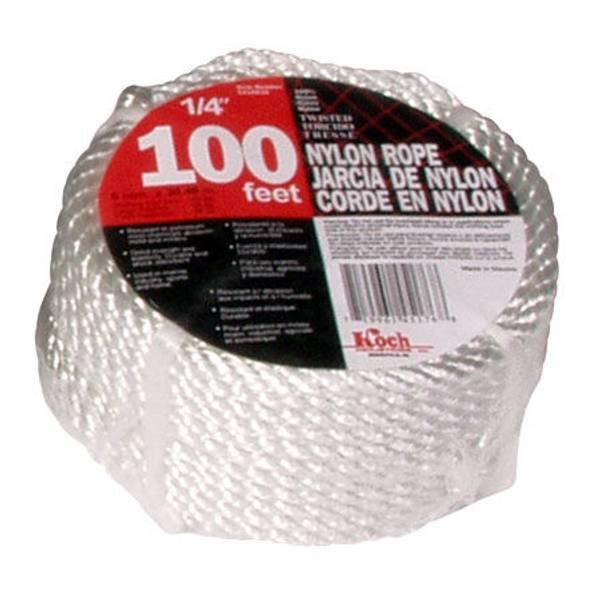 100' Twisted White Nylon Rope