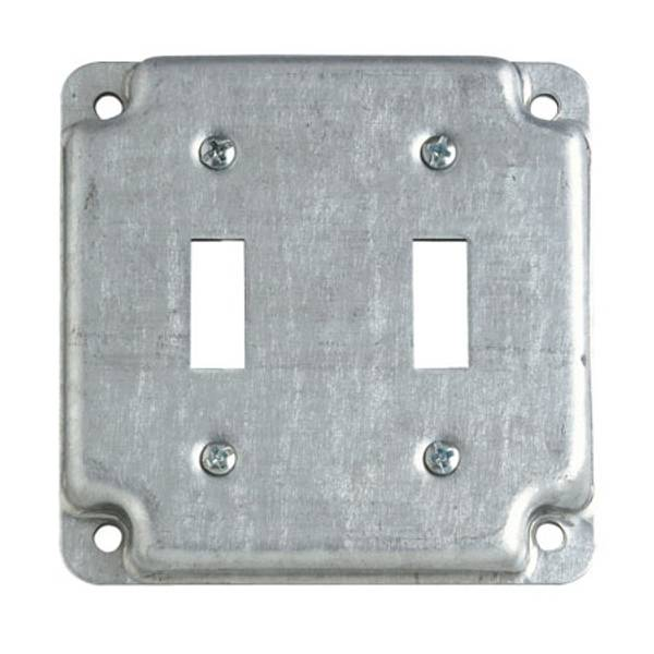 "4"" Square Two Toggle Switch Exposed Work Cover"
