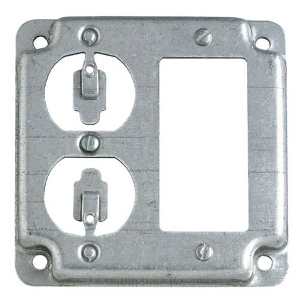 "4"" Square Exposed Work One GFCI and One Duplex Receptacle Cover"