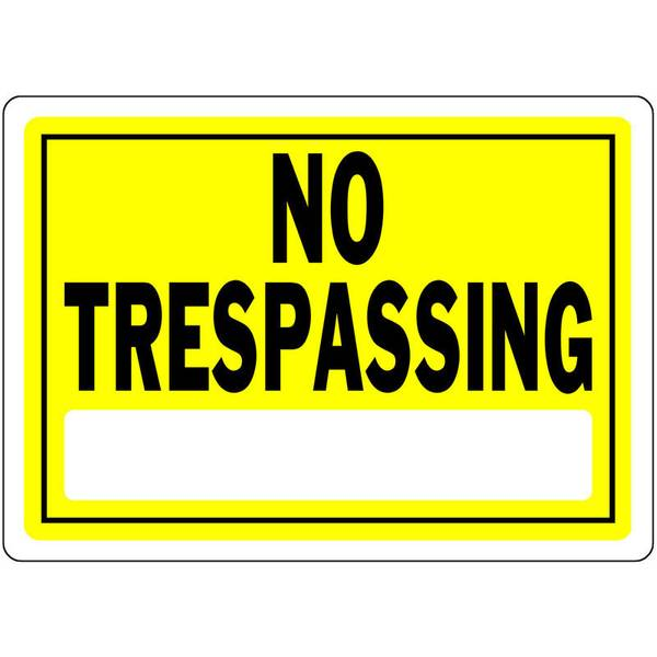 "10"" x 14"" Yellow No Trespassing Aluminum Sign"