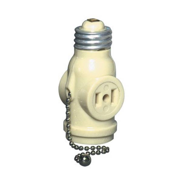 Pull Chain Lampholder with Two Outlets