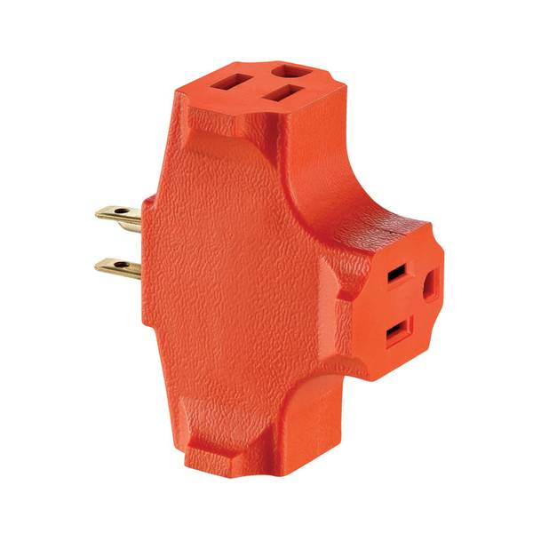 U - Ground Single to Triple Straight Plug - In Outlet Adapter
