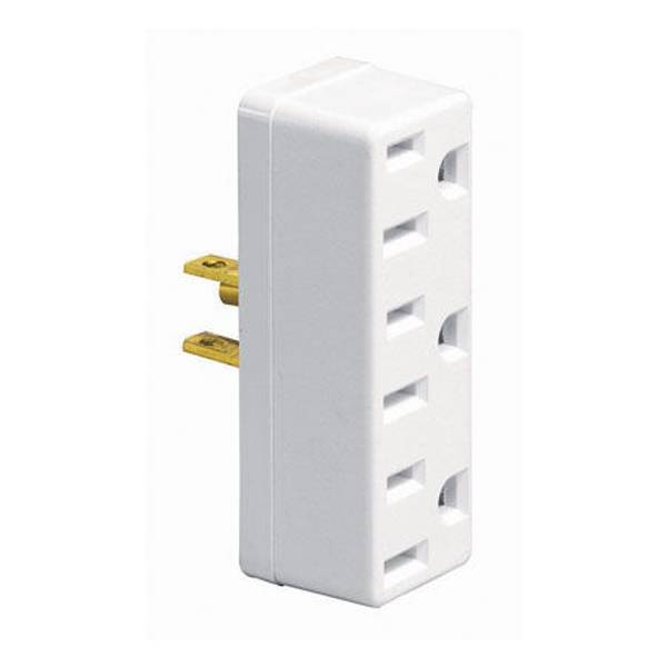 U - Ground Single to Triple Straight or Angle Plug - In Outlet Adapter